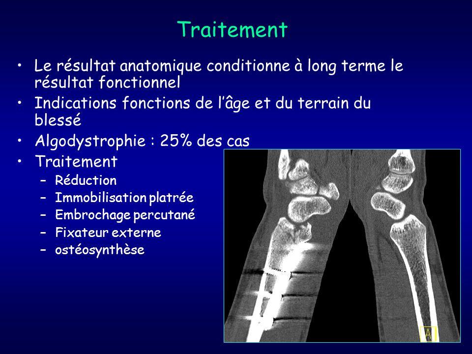 Traitement Le résultat anatomique conditionne à long terme le résultat fonctionnel. Indications fonctions de l'âge et du terrain du blessé.
