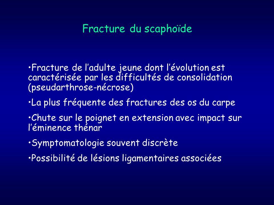 Fracture du scaphoïdeFracture de l'adulte jeune dont l'évolution est caractérisée par les difficultés de consolidation (pseudarthrose-nécrose)
