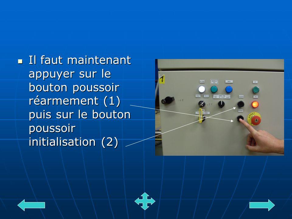 Il faut maintenant appuyer sur le bouton poussoir réarmement (1) puis sur le bouton poussoir initialisation (2)
