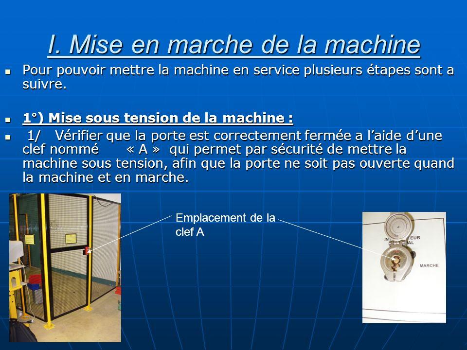 I. Mise en marche de la machine