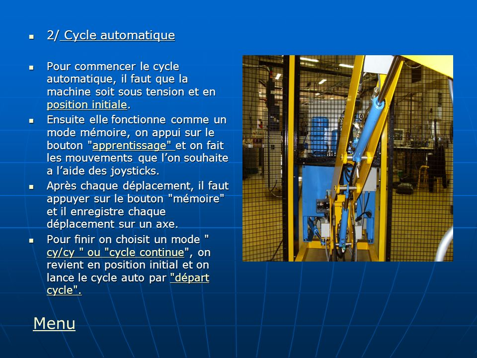 Menu 2/ Cycle automatique