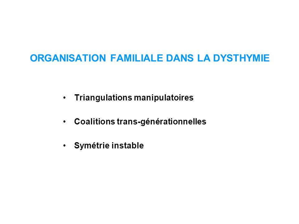 ORGANISATION FAMILIALE DANS LA DYSTHYMIE