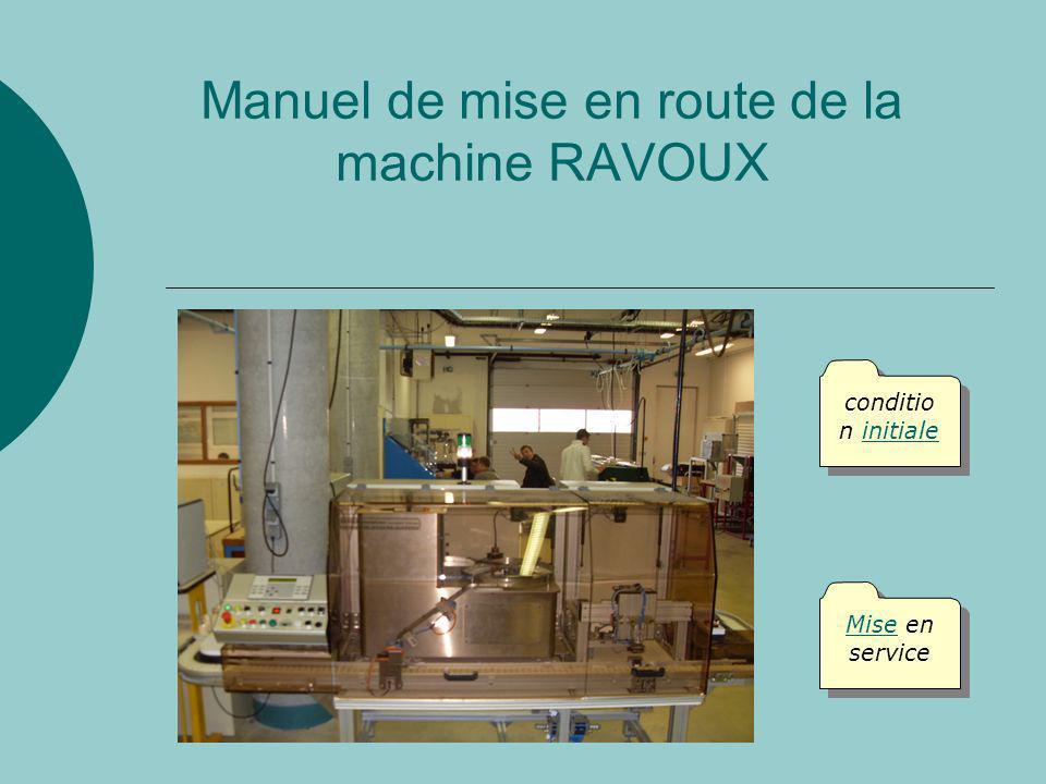 Manuel de mise en route de la machine RAVOUX