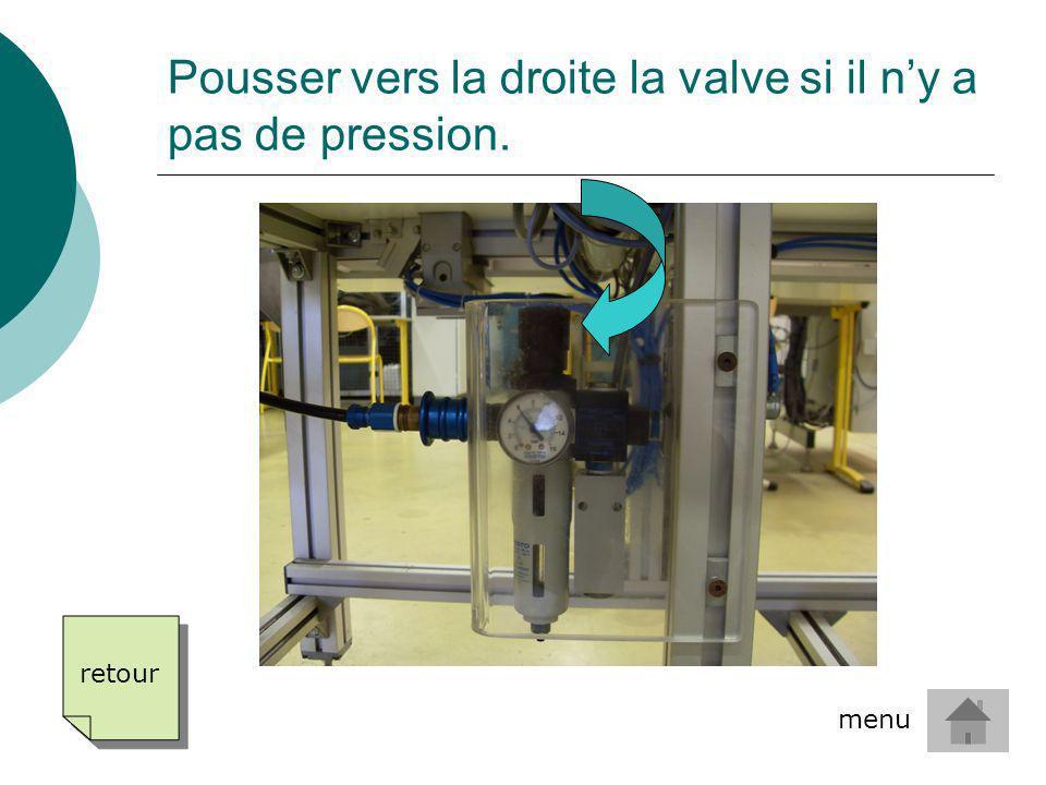 Pousser vers la droite la valve si il n'y a pas de pression.