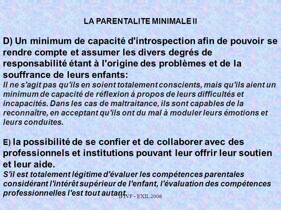 LA PARENTALITE MINIMALE II