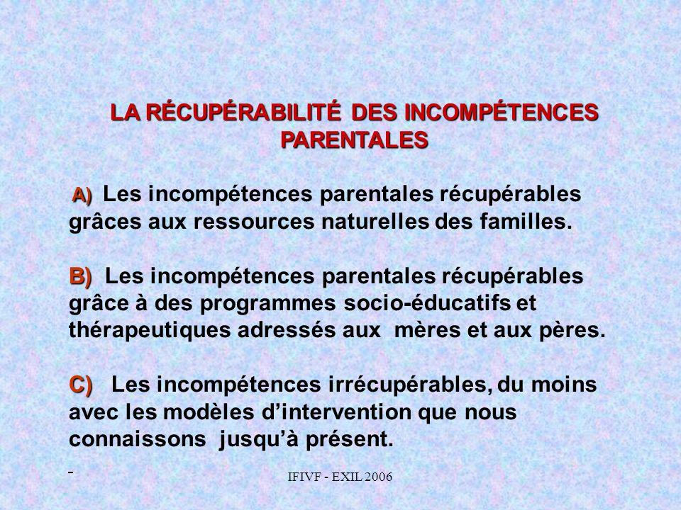LA RÉCUPÉRABILITÉ DES INCOMPÉTENCES PARENTALES