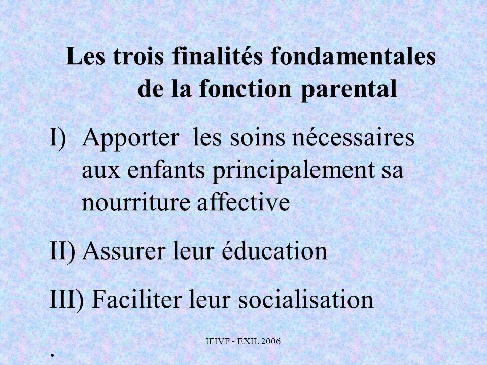 Les trois finalités fondamentales de la fonction parental