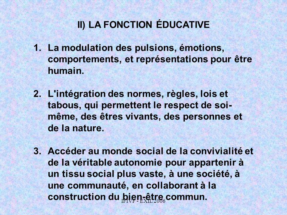 II) LA FONCTION ÉDUCATIVE
