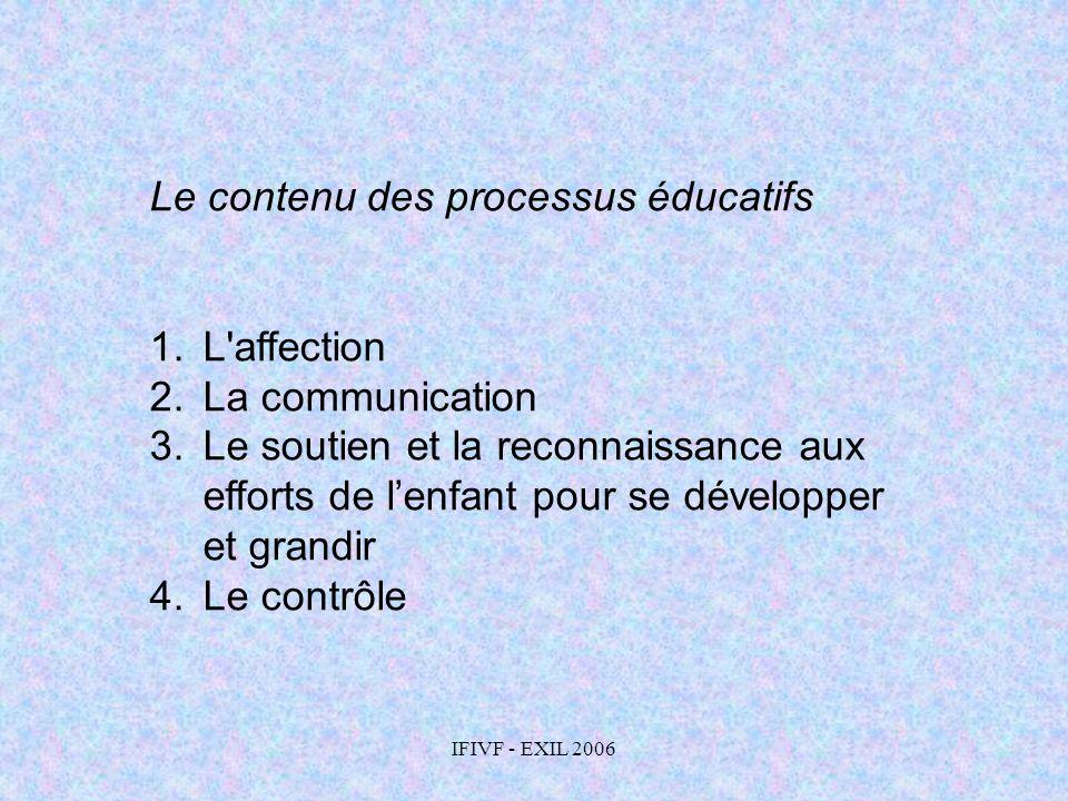 Le contenu des processus éducatifs