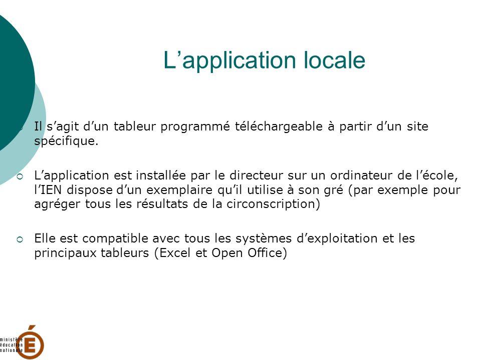 L'application locale Il s'agit d'un tableur programmé téléchargeable à partir d'un site spécifique.