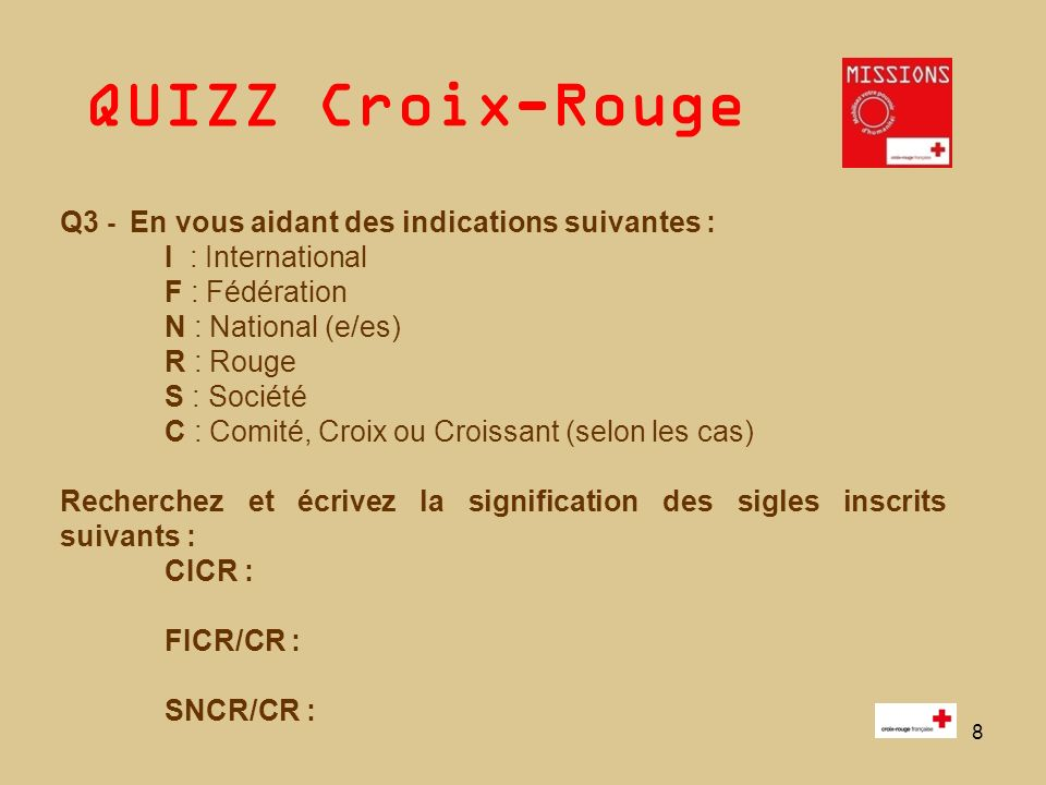 Q3 - En vous aidant des indications suivantes : I : International
