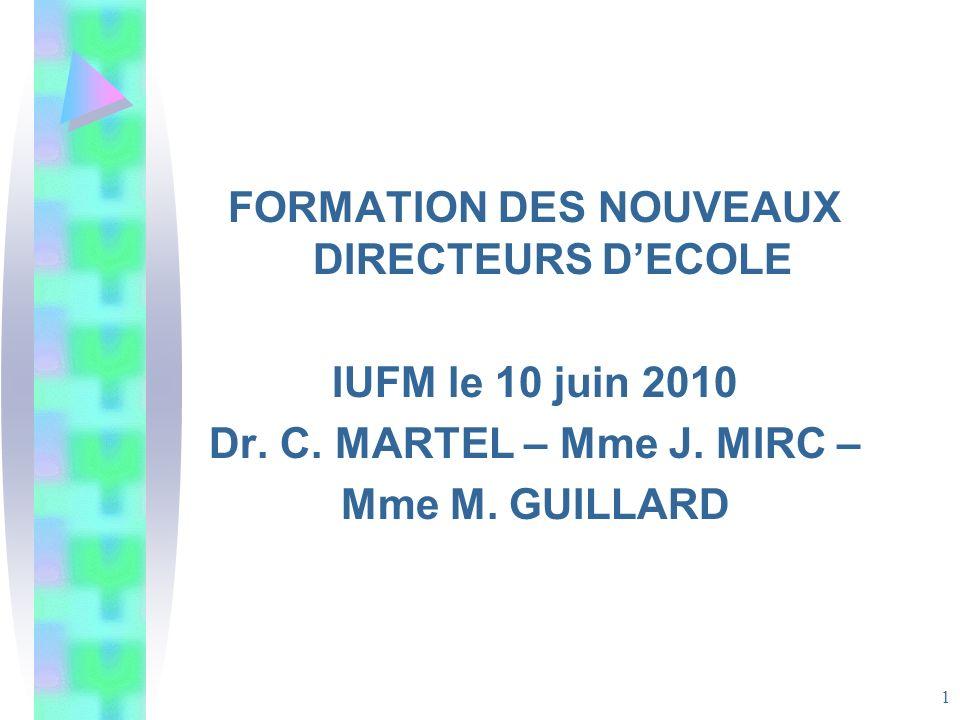 FORMATION DES NOUVEAUX DIRECTEURS D'ECOLE