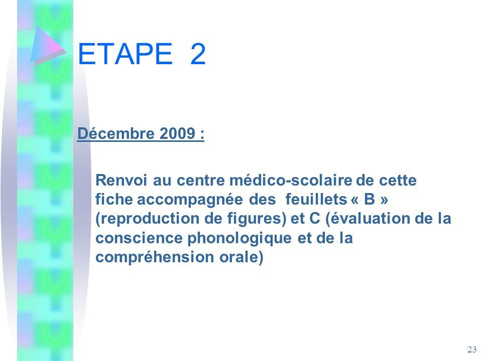 ETAPE 2 Décembre 2009 :