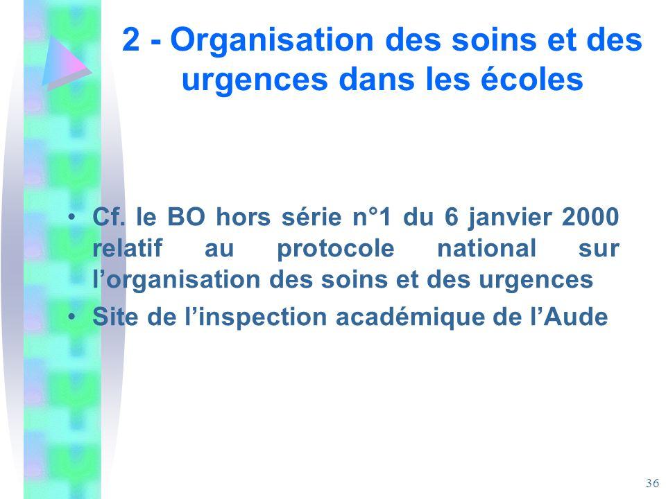 2 - Organisation des soins et des urgences dans les écoles