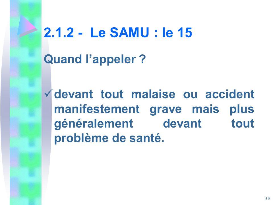 2.1.2 - Le SAMU : le 15 Quand l'appeler