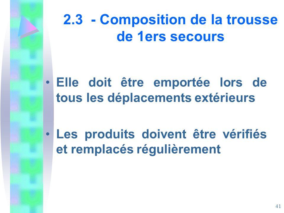 2.3 - Composition de la trousse de 1ers secours