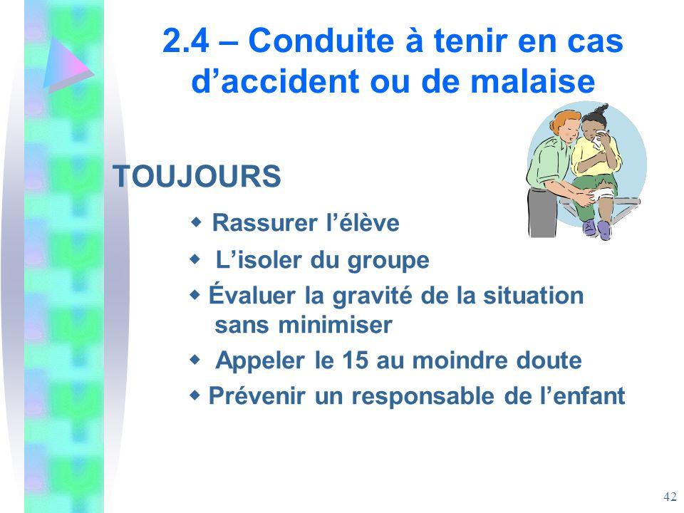 2.4 – Conduite à tenir en cas d'accident ou de malaise