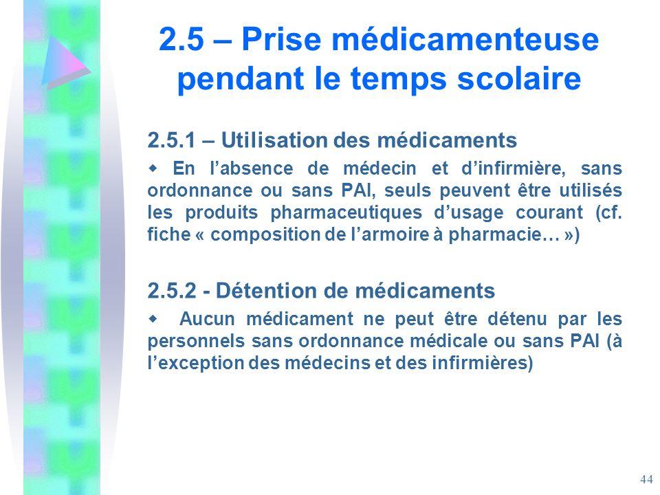 2.5 – Prise médicamenteuse pendant le temps scolaire