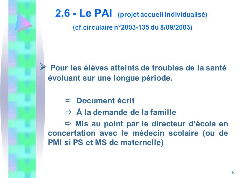 2. 6 - Le PAI (projet accueil individualisé) (cf