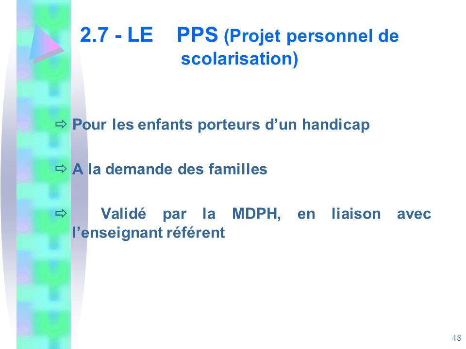 2.7 - LE PPS (Projet personnel de scolarisation)