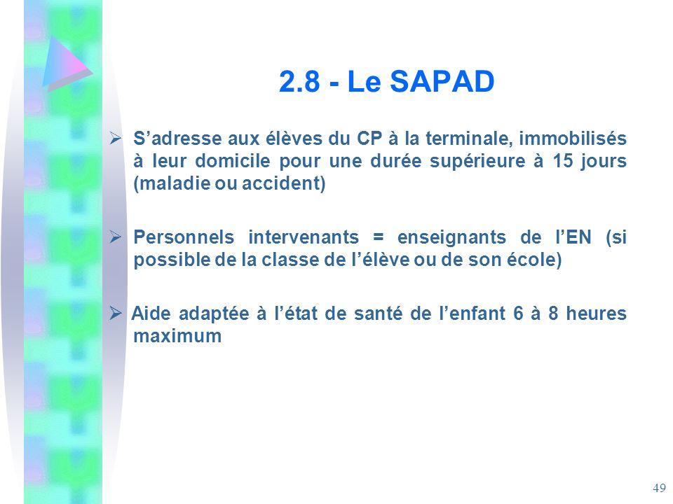 2.8 - Le SAPAD S'adresse aux élèves du CP à la terminale, immobilisés à leur domicile pour une durée supérieure à 15 jours (maladie ou accident)