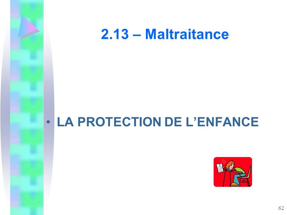 2.13 – Maltraitance LA PROTECTION DE L'ENFANCE