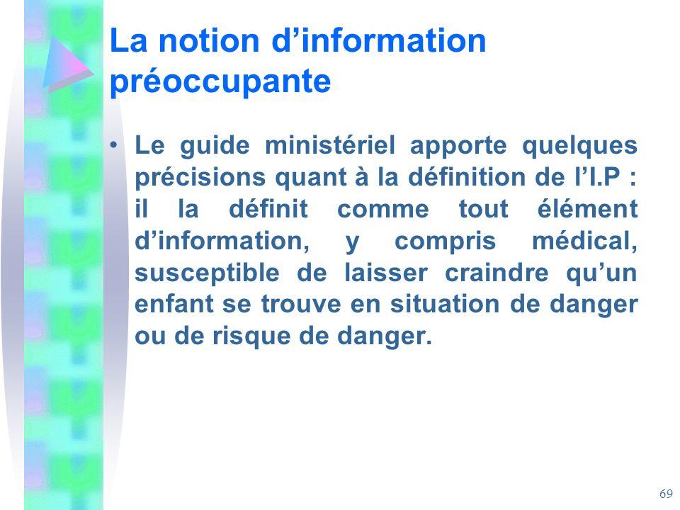La notion d'information préoccupante
