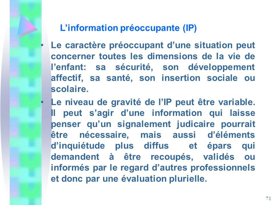 L'information préoccupante (IP)