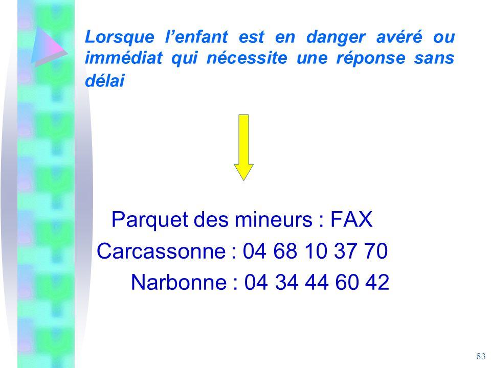 Parquet des mineurs : FAX