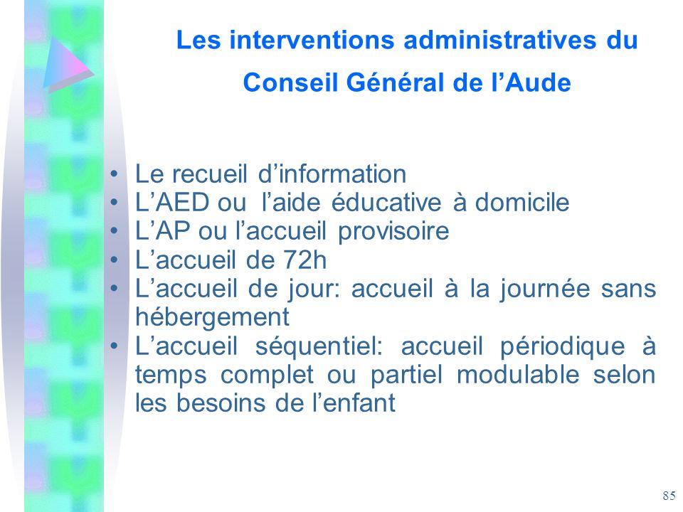 Les interventions administratives du Conseil Général de l'Aude