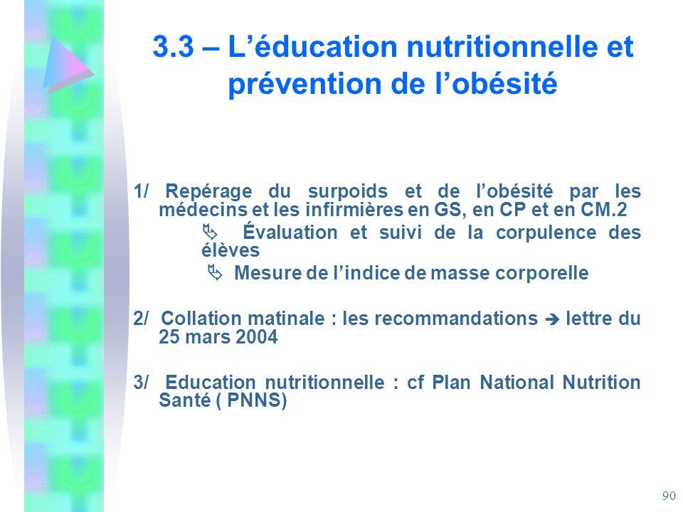 3.3 – L'éducation nutritionnelle et prévention de l'obésité