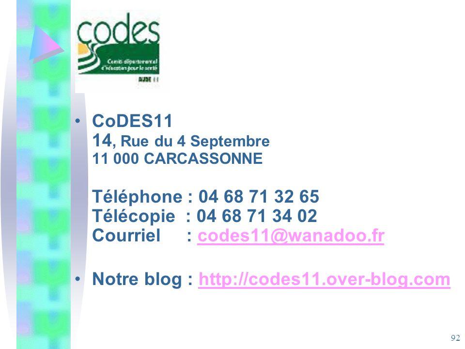 CoDES11 14, Rue du 4 Septembre 11 000 CARCASSONNE Téléphone : 04 68 71 32 65 Télécopie : 04 68 71 34 02 Courriel : codes11@wanadoo.fr