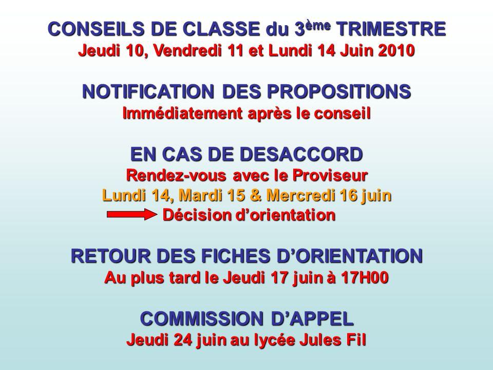 CONSEILS DE CLASSE du 3ème TRIMESTRE