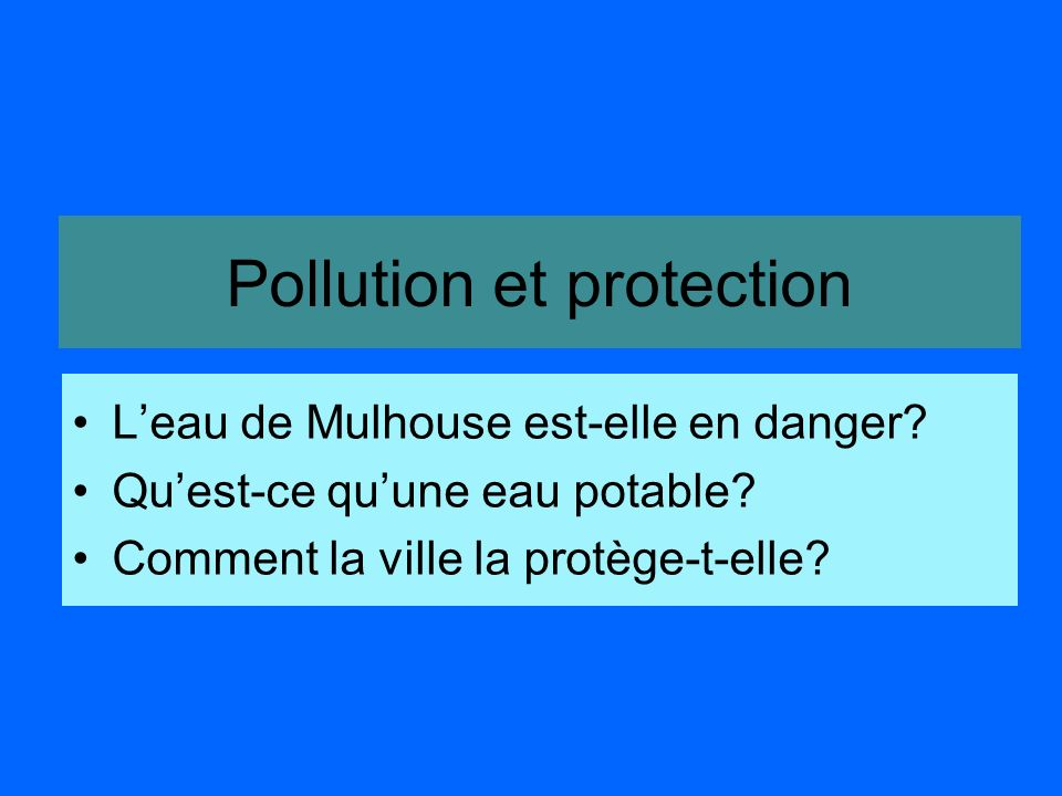 Pollution et protection