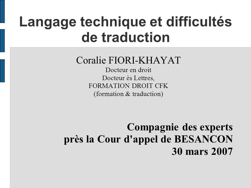 Langage technique et difficultés de traduction