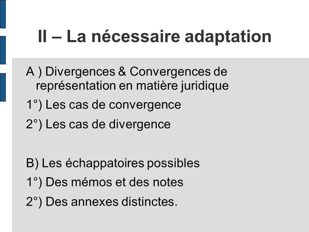 II – La nécessaire adaptation
