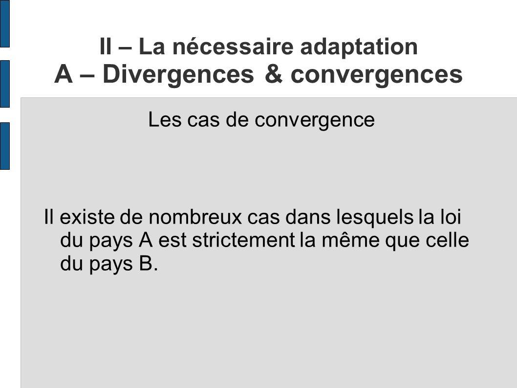II – La nécessaire adaptation A – Divergences & convergences