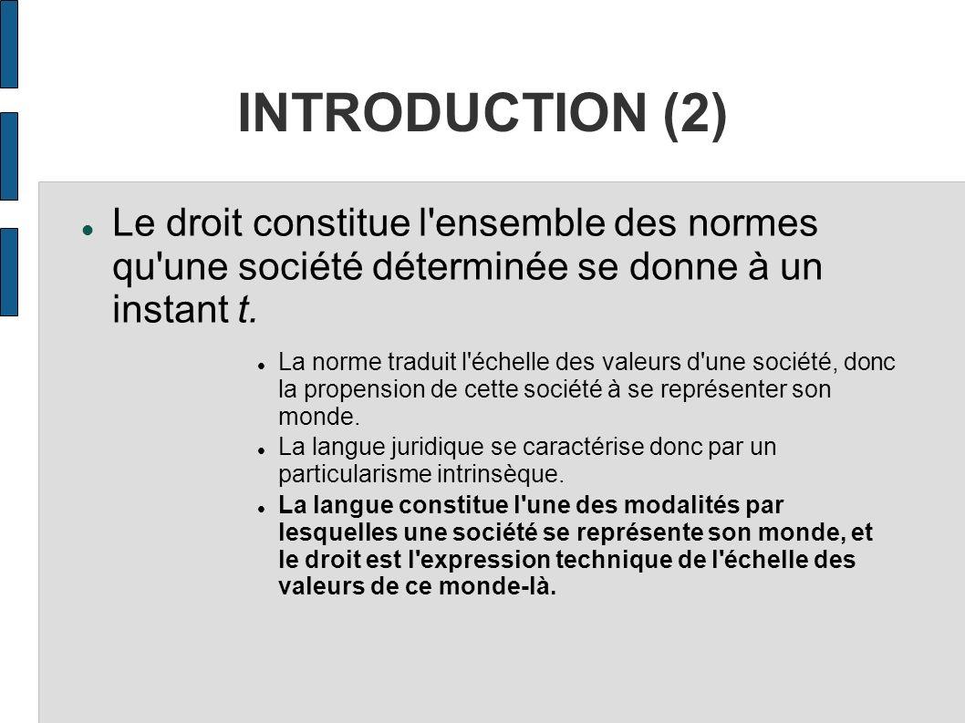 INTRODUCTION (2) Le droit constitue l ensemble des normes qu une société déterminée se donne à un instant t.