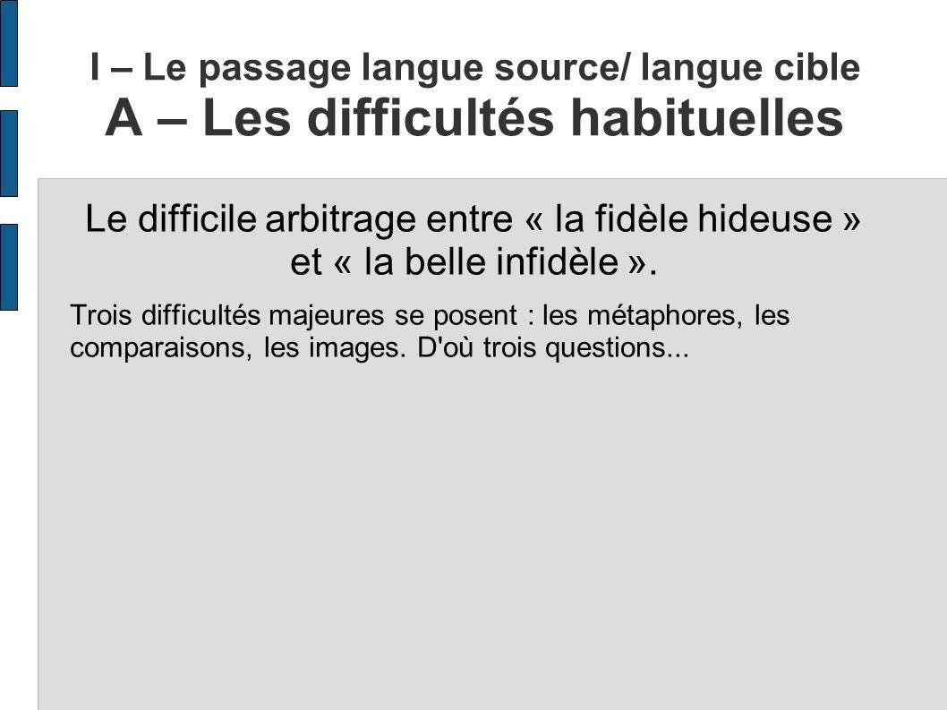 I – Le passage langue source/ langue cible A – Les difficultés habituelles