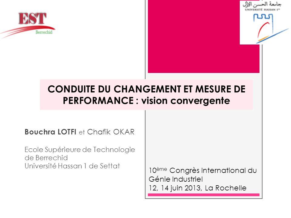 CONDUITE DU CHANGEMENT ET MESURE DE PERFORMANCE : vision convergente