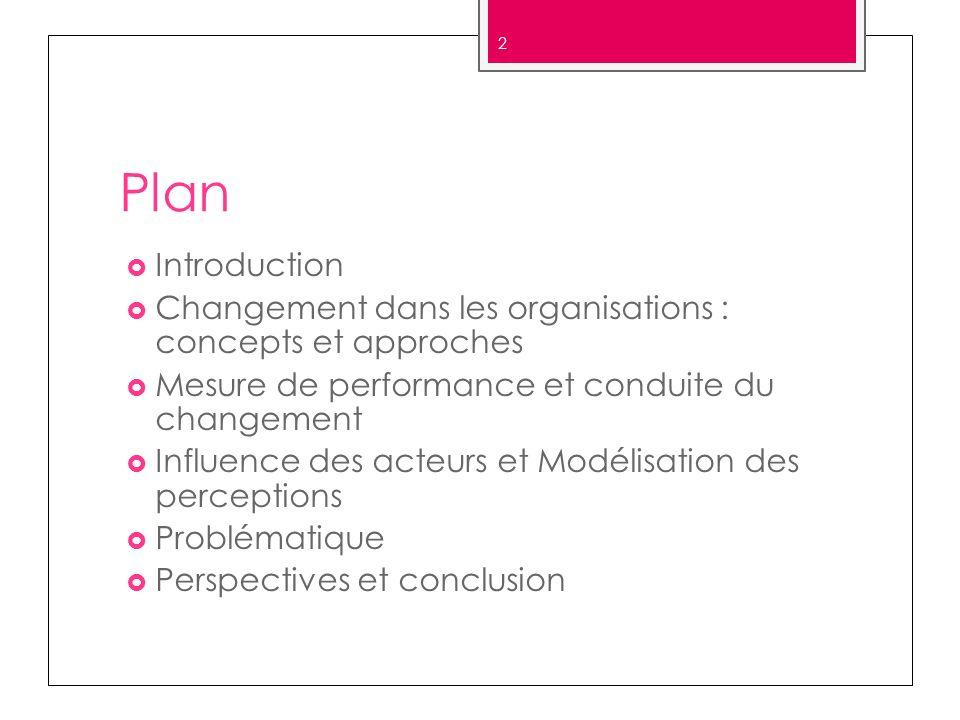 Plan Introduction. Changement dans les organisations : concepts et approches. Mesure de performance et conduite du changement.