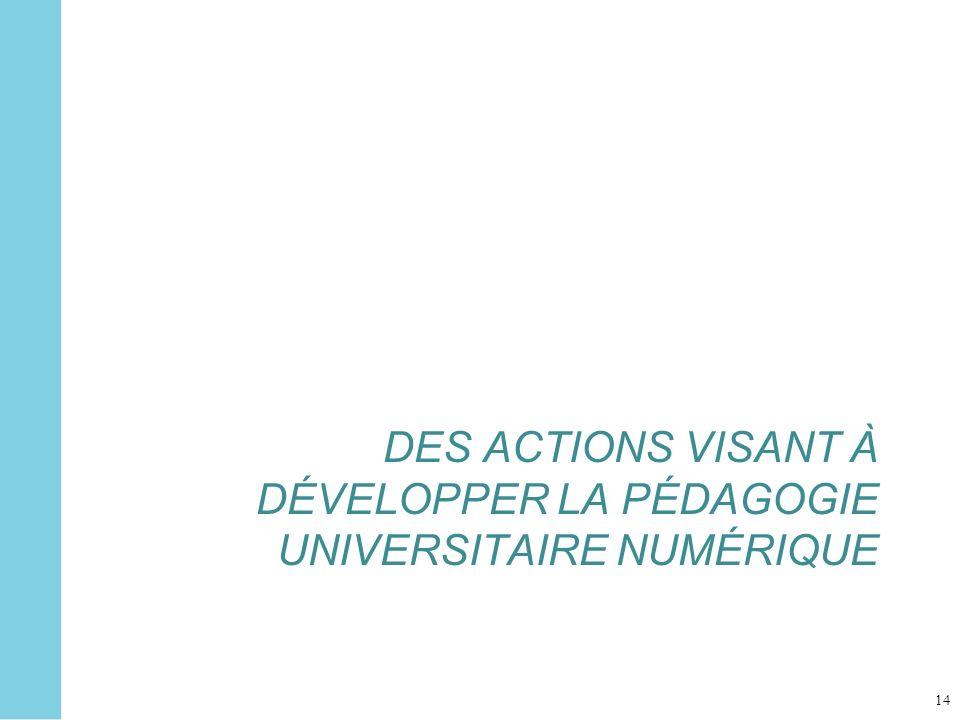 DES ACTIONS VISANT À DÉVELOPPER LA PÉDAGOGIE UNIVERSITAIRE NUMÉRIQUE