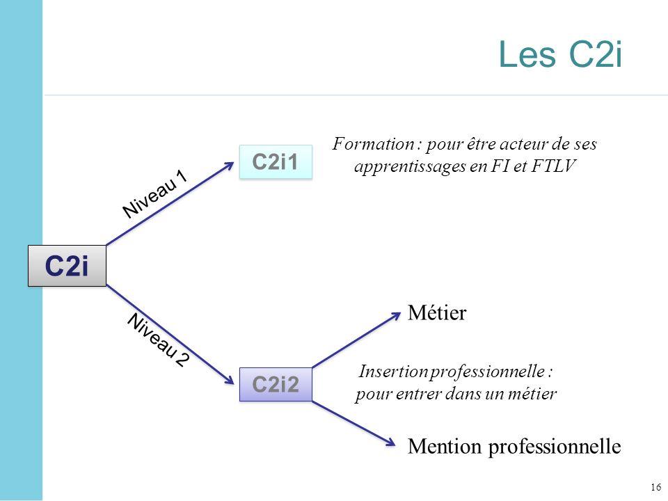 Les C2i C2i C2i1 Métier C2i2 Mention professionnelle