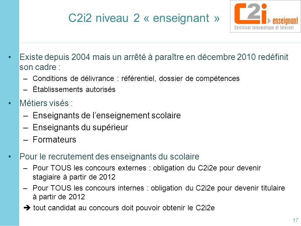 C2i2 niveau 2 « enseignant »