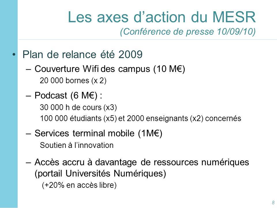 Les axes d'action du MESR (Conférence de presse 10/09/10)
