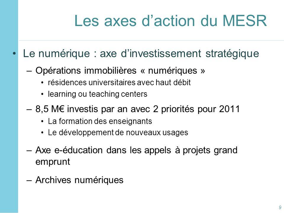 Les axes d'action du MESR