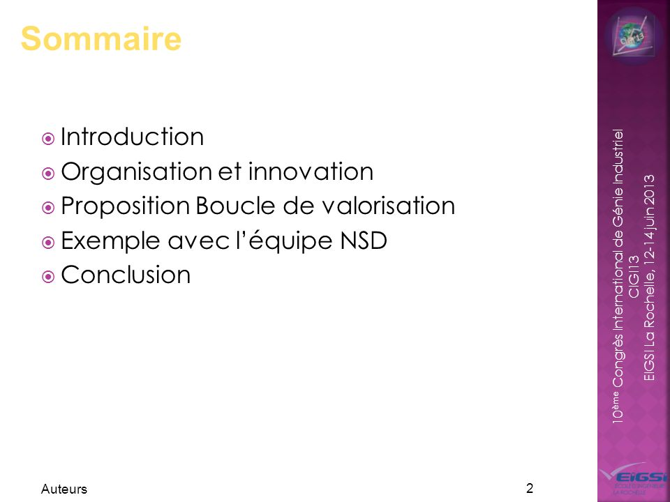 Sommaire Introduction Organisation et innovation