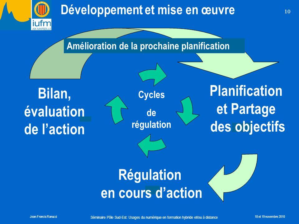 Planification Bilan, évaluation et Partage des objectifs de l'action