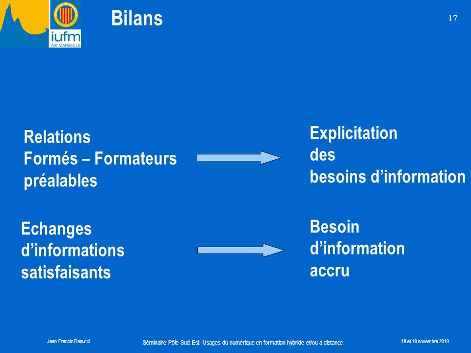 Bilans Explicitation Relations des Formés – Formateurs