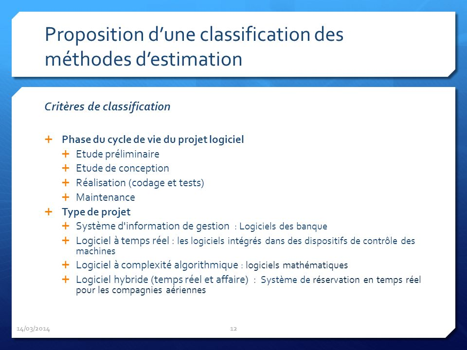 Proposition d'une classification des méthodes d'estimation